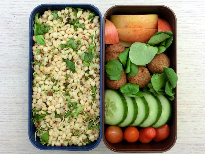 Bento Box gefüllt mit Zartweizen, Tomaten, Gurke, Hackbällchen, Apfel