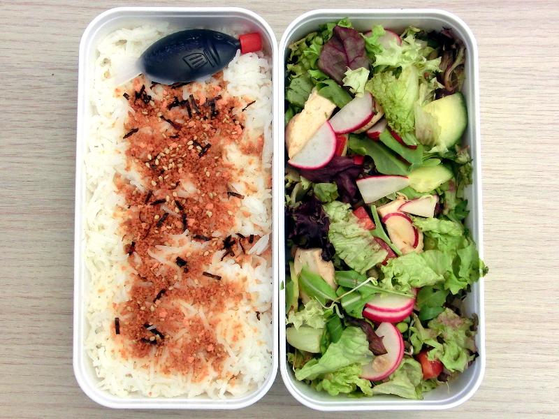 Bento Box gefüllt mit Reis und Salat