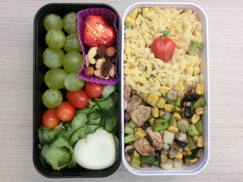 Bento Box gefüllt mit Nudelpfanne, Pilzpfanne, Tomaten, Weintrauben, Gurkensalat, Ei
