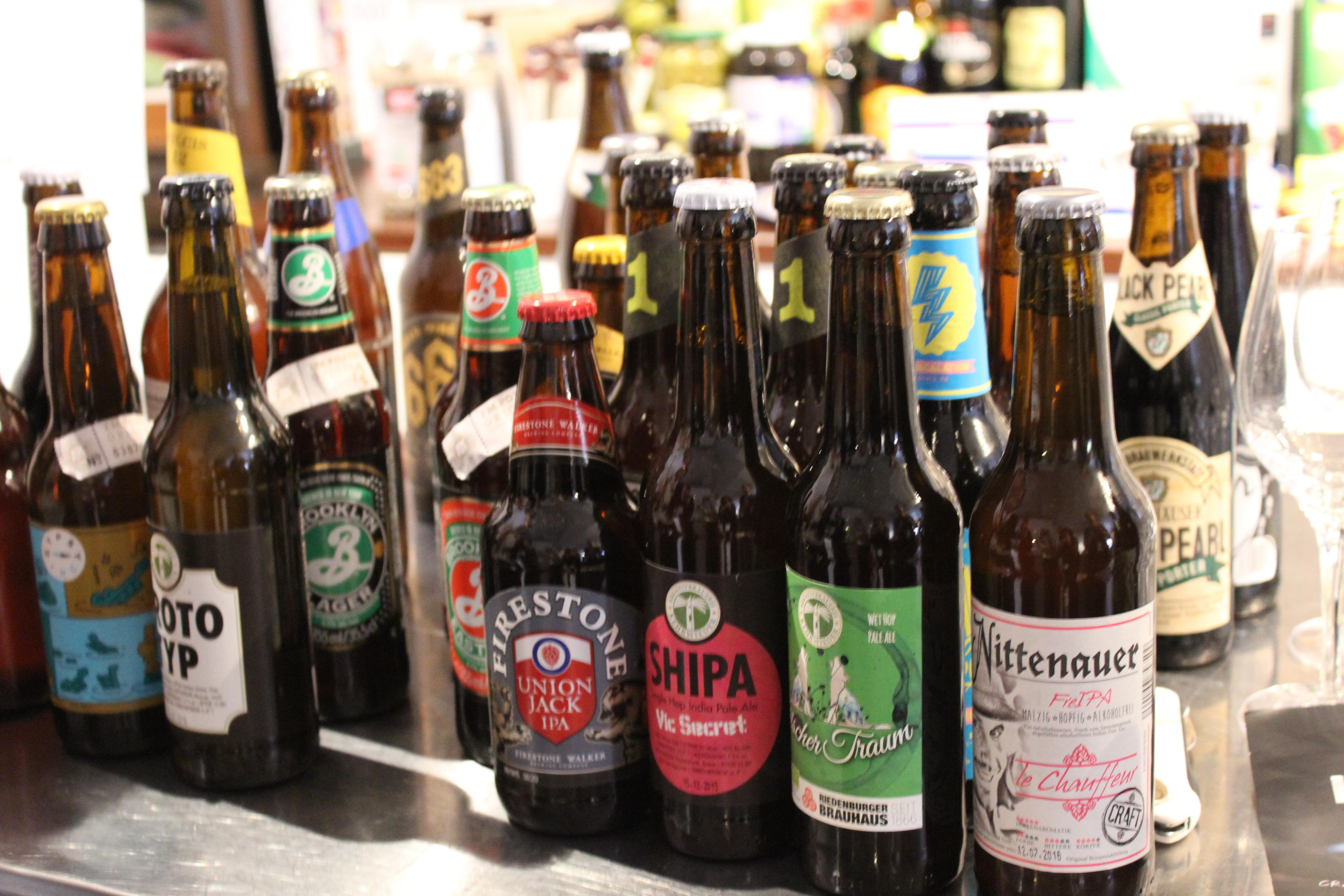 Bierflaschen vom Biertasting