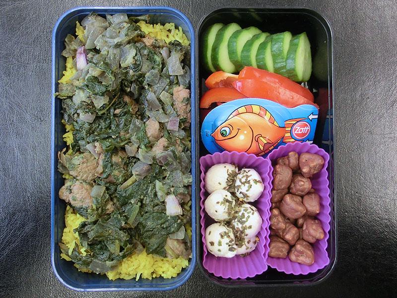 Bento Box gefüllt mit Lamm Curry auf Reis, Gurke, Paprika, Käse, Mozzarella, Schokolade