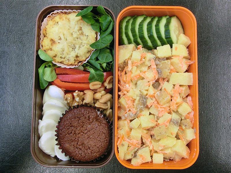 Bento Box gefüllt mit Kartoffelsalat, Gurke, Auflauf, Paprika, Nüsse, Muffin, Mozzarella