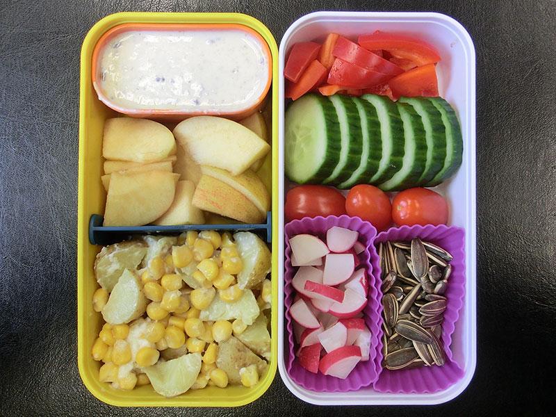 Bento Box gefüllt mit Kartoffelpfanne, Apfel, Dipp, Paprika, Gurke, Tomaten, Radieschen, Sonnenblumenkerne
