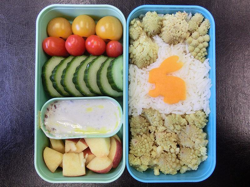 Bento Box gefüllt mit Romanesco, Reis, Tomaten, Gurke, Apfel, Joghurt
