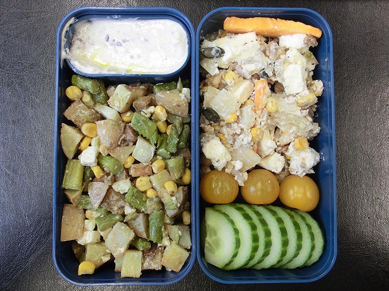 Bento Box gefüllt mit Kartoffelpfanne, Kürbispfanne, Quark, Gurken