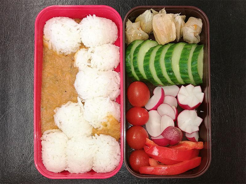 Bento Box gefüllt mit Reis, Erdnusssauce, Physalis, Gurke, Radieschen, Tomaten, Paprika