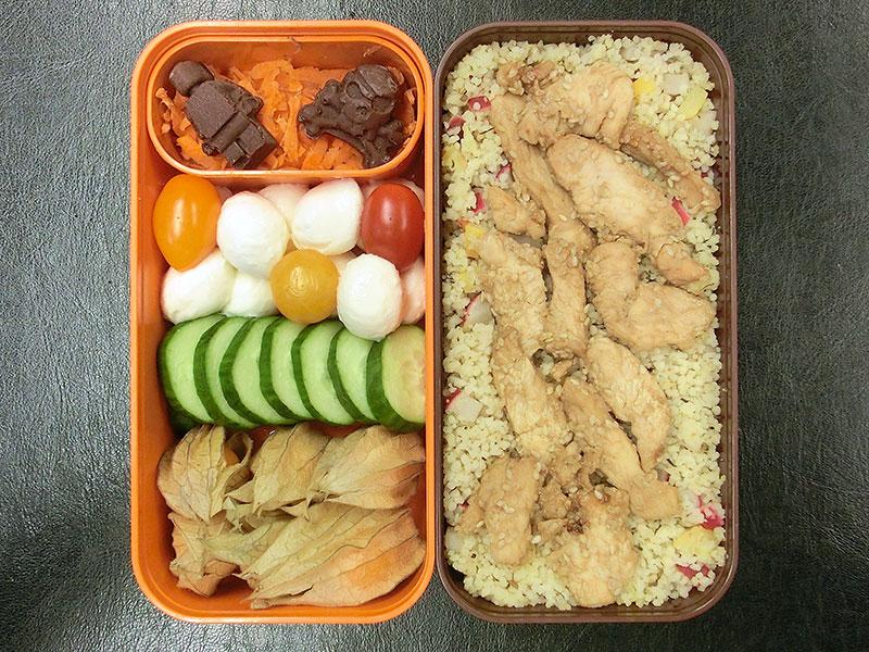 Bento Box gefüllt mit Möhren, Schokolade, Mozzarella, Tomaten, Gurke, Physalis, Couscous, Hähnchen