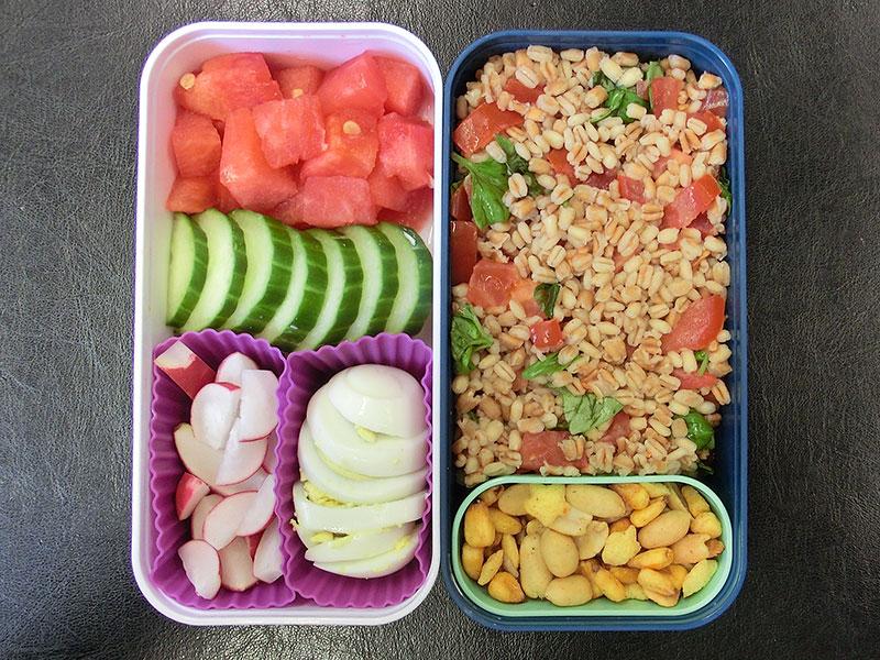 Bento Box gefüllt mit Melone, Gurke, Ei, Radieschen, Bulgur, Nüsse