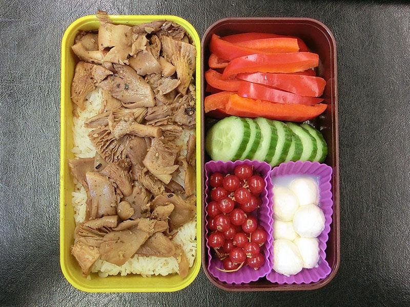 Bento Box gefüllt mit Pilzpfanne, Paprika, Gurke,Johannisbeeren, Mozzarella